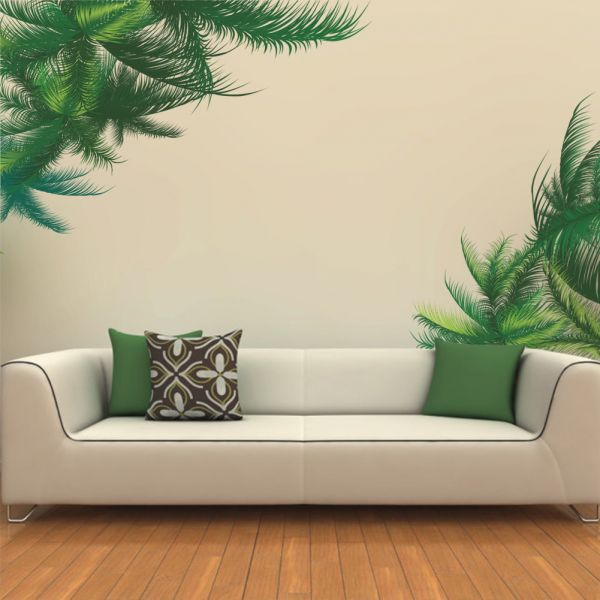 Superb Green Leaf Bedroom Living Room Background Wall Stickers Paste Walldecals Decor Vinyl Diy Palm Tree Leaves Wall Stickers For Kids Room Living Room Home Interior And Landscaping Ologienasavecom