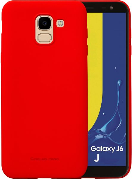 best website 53c16 3d4fc Samsung Galaxy J6 2018 Molan Cano Flexible Matte Silicone Soft Back Case -  Red