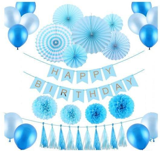33 PCS Blue Boys Birthday Party Decoration Set For Baby Shower Includes Paper FansBalloonsHappy BannerPaper TasselsTissue Pompoms