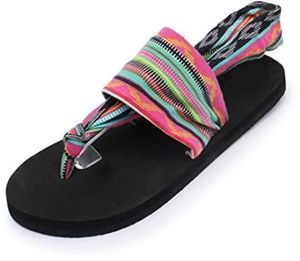 49eeafe46b77fe Women s Bohemia Stripe Cloth Flat Flip-Flop Thongs Slip on Comfy Walking  Sandals for Beach