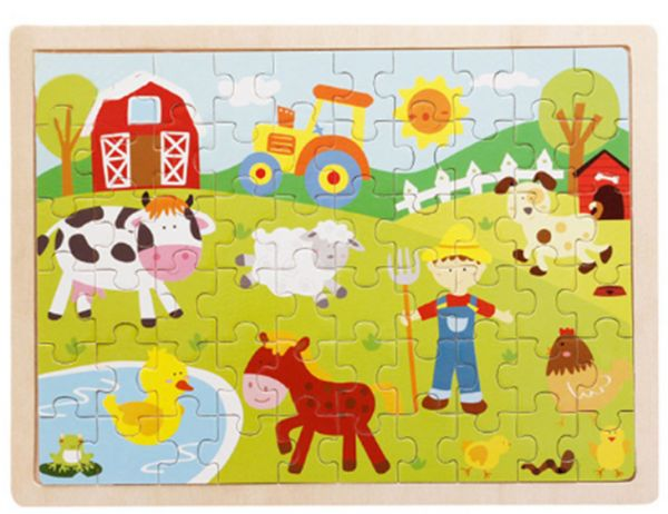 60 Pieces Wooden Puzzles Kids Educational Toys DIY Wooden ...