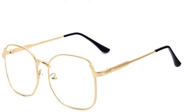 06882cf412d Preppy style Oversized Retro Eyeglasses Metal Frame Lovers Flat Eyewear for  Unisex