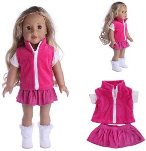 702ab77fe72 18-inch American girl doll clothes three-piece suit-Pink