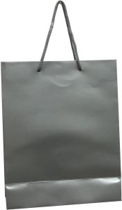 Plain Large Silver Paper Bags With Handles For Gifts Parties Wedding