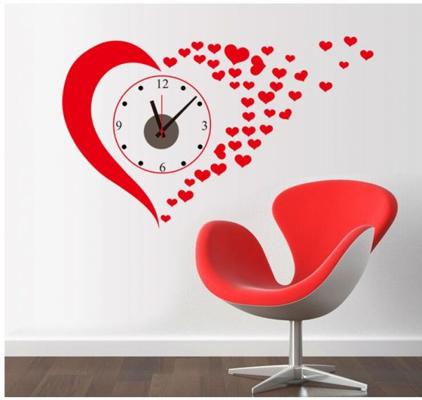 Big Creative Clock Heart Shape Removable Wall Paper For Home Decor