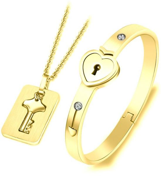 745edf2fa9e Couple Bracelet & Pendant Necklace, Lovers Heart Lock Bracelet and Lock Key  Pendant for Men and Women, Gold Plated