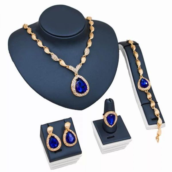 Women's Crystal Jewelry Set 5pcs Sapphire Heart Necklace Earrings Ring Bracelet Gold Plated Alloy Chain for Party Blue