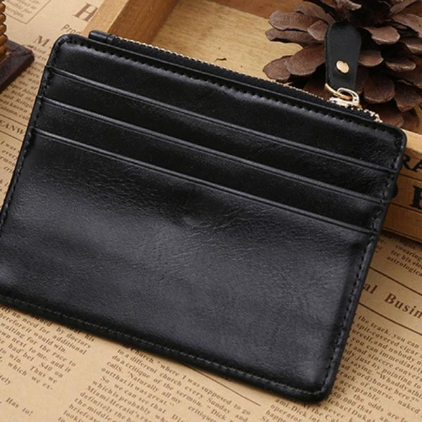 4a69b475f678 Real Leather Credit Card Holder Thin Card Case Mini Card Wallet Men Business  ID Money Cards Pack Black