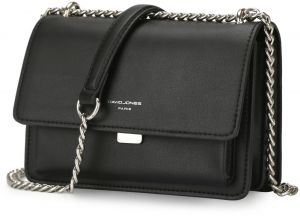 DAVIDJONES women pu messenger mini chain crossbody bags-BLACK 2c9f52ca5a
