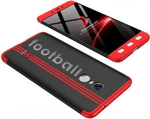 Xiaomi Redmi Note 4 case, Fashion ultra Slim GKK 360 special edition Football 3d printed Full Protection cover Case - Red & Black
