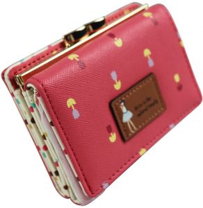 Women Girls Trifold Short Small Coin Purse Lovely PU Leather Girls Wallet Female Coin Wallets Card Holder- Red-QB53-1