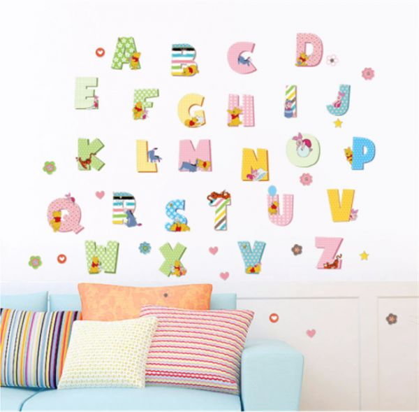 26 Letters Home Decor English Wall Stickers DIY Alphabet Carton Mural For Kids Bedroom School Decal