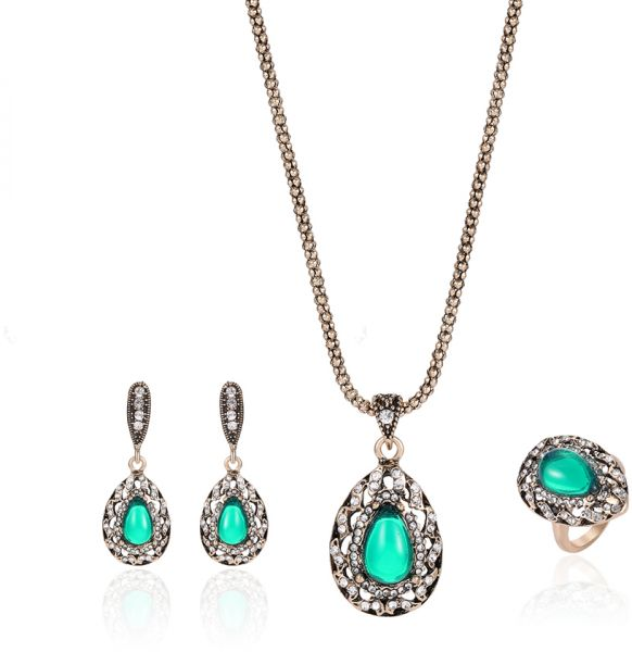 Turkey Style 3pcs Necklace Earring Ring Set Vintage Wedding Crystal Rhinestone Gemstone Pendant Jewelry Set
