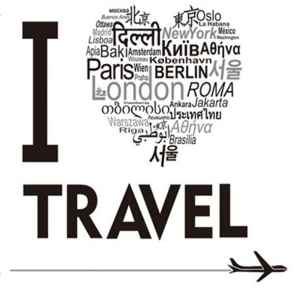 i love travel wall stickers home decor diy black wall art decals