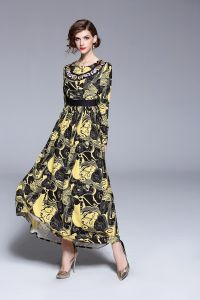 daf25676f601 Y&D Women's A Line Round Neck Ethnic Style Floral Pattern Long Sleeve Sash  Maxi Long Dress Multi Color