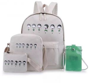 Fashion School bags set 4 pieces canvas backpack for kids and girls study  school backpack ac4674c202