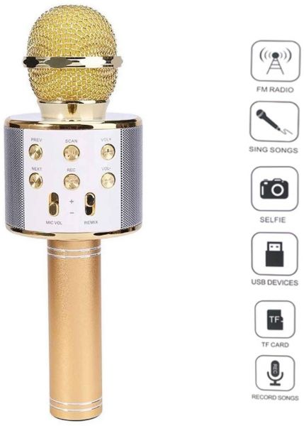 WSTER WS-858 Portable Wireless Karaoke Microphone / Bluetooth Handheld Speaker / Karaoke Stereo Player For Music Playing, Mini Home KTV Karaoke For Apple iPhone Android Smartphone Or PC (Gold)