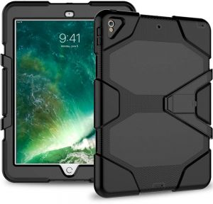 Azzsy iPad Pro 10.5 Case,[Kickstand]Slim Heavy Duty Shockproof Rugged Cover Hybrid High Impact Resistant Defender Full Body Protective Case,Black