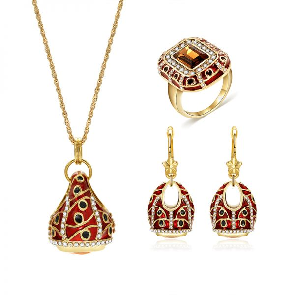 Women's Fashion Retro Jewelry Sets Antique gold Color Mosaic yellow Zircon Pendant Necklace And Earring Ring Jewelry Set