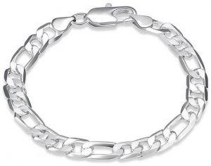 6ea401182001 925 Sterling Silver Plated Necklace Figaro Chain 20 inch width 8 mm For Men    Women