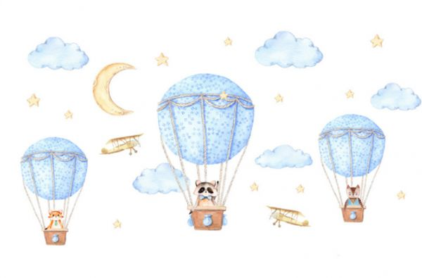 Removable Creative 3D Hot Air Balloon Clean Animals And Smiles Cloud Wall  Applique Childrenu0027s Room Wall Decor Art Deco Stickers Nursery Decor 3D Art  Decals ...