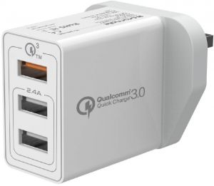Promate Quick Charge 3.0 Wall Charger, Universal 30W 3-Port Travel USB Qualcomm QC 3.0 Charger with Ultra-Fast Dual USB Port and Automatic Voltage ...