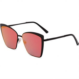 f375fcb56fd SOJOS Cateye Sunglasses for Women Fashion Mirrored Lens Metal Frame - Red  Lens
