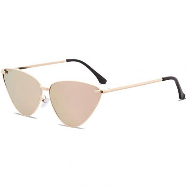 10216192552 SOJOS Fashion Cat Eye Women Sunglasses Mirrored Colorful Lens - Pink Lens