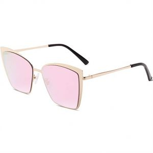 496f940589a SOJOS Cateye Sunglasses for Women Fashion Mirrored Lens Metal Frame - Pink  Lens