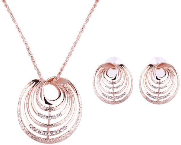 18 K Rose Gold Plated Cubic Zirconia Lever Back Earrings Necklace Set for Women Girls CZ Jewelry Set