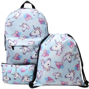 777505413487 3 in 1 Colorful Unicorn Students Backpack Cartoon Panda Children School  Bags Backpack for Teenager Girls Book Bag Women Laptop Backpack Travel Bag