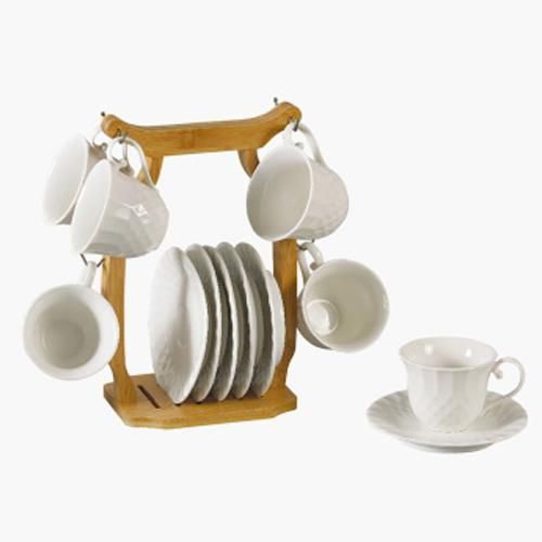 Set Of 12 Piece Tea Cup And Saucer With Stand Capacity 180 Ml