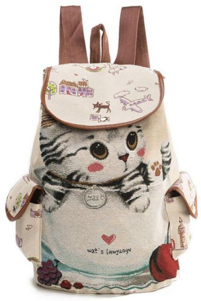 1b90e75a3d3f Canvas backpack cute cat embroidered backpack school bag Leisure backpack