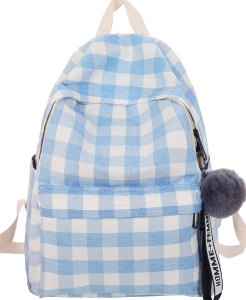 0d53c9f155 Canvas woman backpack blue white plaid simple student schoolbag girl bag  fashion backpack