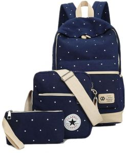 472190b3d5d5 Canvas Dot Three Pieces Sets Packbag Fashion Shoulder Bag School Bag  Junior