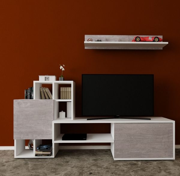 a8189172c Bravo wooden TV table with wall racks - Multi Color