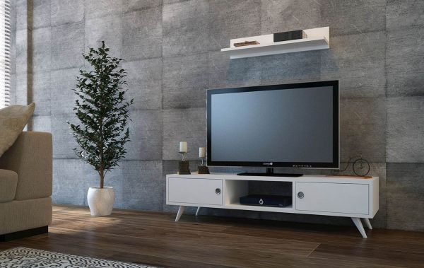 f87cf1b36 Bravo wooden TV table with wall racks - White