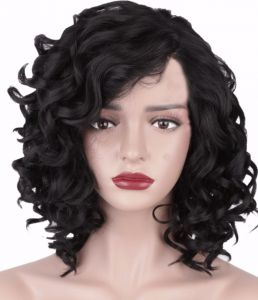 Short Curly Kinky Wigs for Black Women Fluffy Wavy Black Synthetic Hair Wig  Natural Looking Wigs Heat Resistant Wigs with Wig e7b794e55