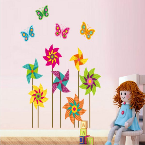Windmill Self Adhesive Wallpaper Posters Living Room Bedroom Dorm Wall Decoration Sticker Decals Removable Color
