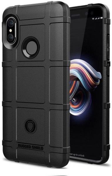 buy popular 93da6 4f928 Silicone Rugged Shield Slim Armor Hybrid Matte Cover For Xiaomi Redmi Note  5 AI Edition & Redmi Note 5 Pro - Black