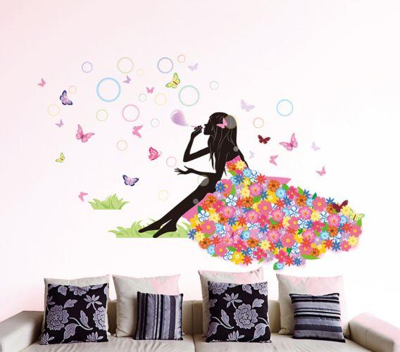 fairy girl wall sticker girl room wallpaper flower girl wall sticker
