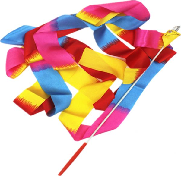 Ribbon Wand, Rhythmic Gymnastics/Dance Rainbow Silk Streamer with Stick for Kids Art Dancing 4M in Length Bright Color