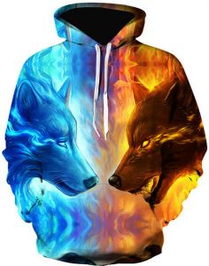 27050823160 Colorful Starry sky wolf Hoodies For Women Men fashion Streetwear Clothing  Hooded Sweatshirt 3d Print Hoody casual Pullover mm
