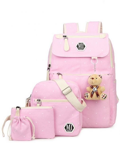 fecfaf28d5 4Pcs set Women Canvas School Backpacks College Schoolbag Fashion Plecak for  Teenager Girl And Boys Rucksack Shoulder Bag mm