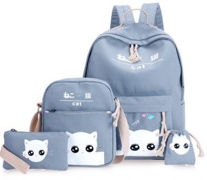 10e09f5803 4Pcs set women backpack schoolbag korean rucksack lovely school bags for  teenager girls student bag set canvas backpacks mm