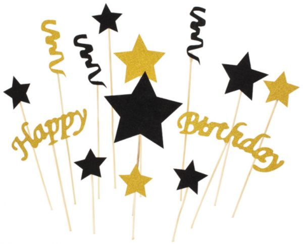 Black And Gold Star HAPPY BIRTHDAY Cake Bunting Topper With Pink Bows Straws Glitter Ballerina Dress Set Of 3