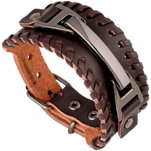 Brown Punk Men's Leather Bracelet Handmade Wristband Buckle Adjustable Woven Bangels Man Jewelry
