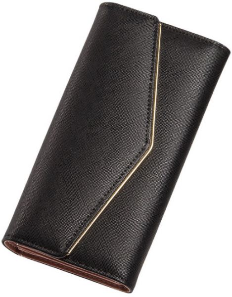 f4c873798dfc Ladies long wallet trifold buckle leanther money clip simple and elegant  handbag black
