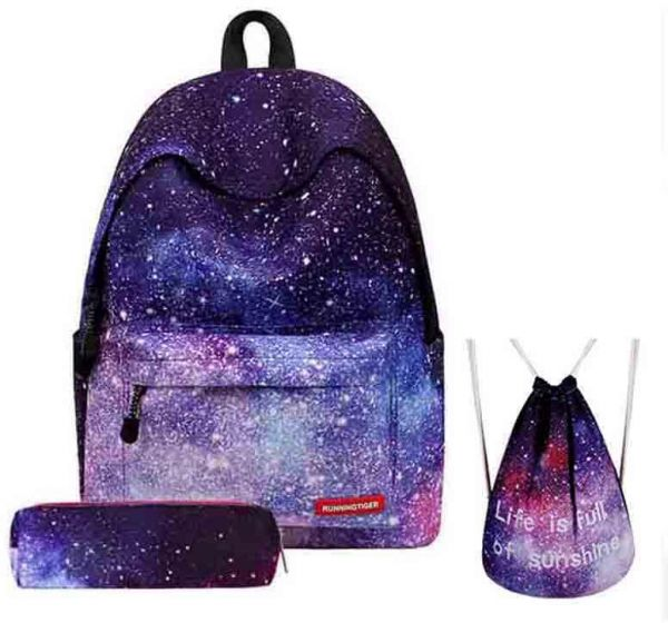 e5583f3597 Women Backpack for Teenage Girls 3PCS set School Backpack Bag Stars  Universe Space Printing Canvas Female Backpacks for College Students Soft  Handler ...