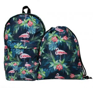50185d1a9a 3PCS Set Flamingo Backpack Women Printed School Bags For Teenage Girls  Shoulder Drawstring Bags Travel Students Polyester Cute Women Girl School  Shoulder ...